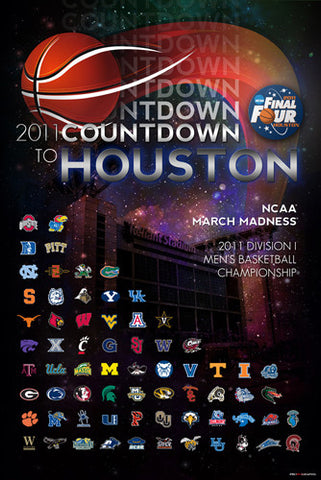 NCAA Men's Basketball Final Four 2011 Houston Official Event Poster (64-Team Field)