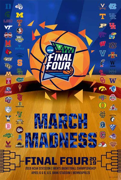 *SHIPS 3/25* NCAA March Madness 2019 Men's Basketball Championships Official Poster (68-Team Field) - ProGraphs