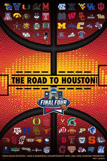 NCAA March Madness 2016 Official Poster (68-Team Field) - ProGraphs Inc.