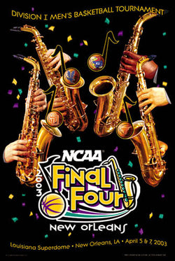 NCAA Men's Basketball Final Four 2003 Official Poster (Syracuse, Kansas, Texas, Marquette) - Action Images