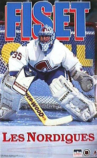 "Stephane Fiset ""Action"" Quebec Nordiques NHL Hockey Poster - Starline 1994"