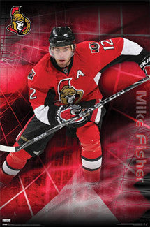 "Mike Fisher ""Superstar"" Ottawa Senators NHL Hockey Poster - Costacos 2010"