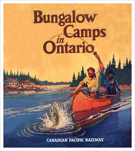 Fishing on the French River (Bungalow Camps in Ontario) c.1940 CP Rail Vintage Poster Reprint