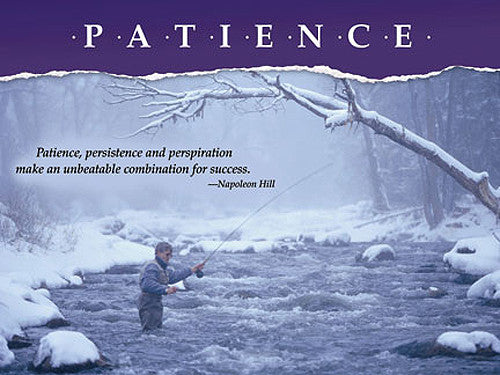 "Fishing ""Patience"" (Fly Fishing in Winter) Motivational Poster - Jaguar Inc."