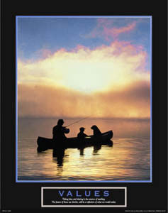 "Fishing at Sunset ""Values"" (Father, Son and Dog) Inspirational Motivational Poster - Front Line"