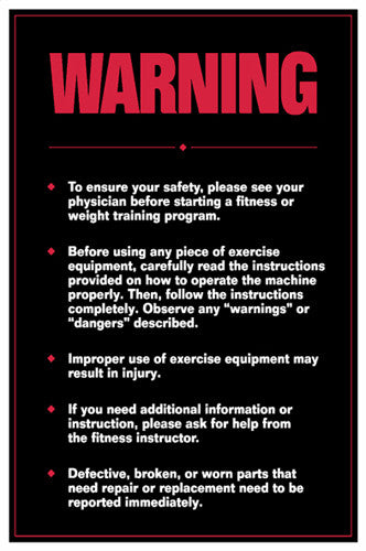 "Fitness Center Safety ""Warning"" Professional Workout Wall Chart Poster - Fitnus Inc."