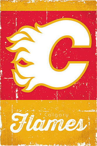 Calgary Flames Retro-Series NHL Team Logo Poster - Costacos Sports
