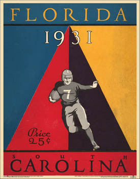 Florida Gators Football 1931 vs. South Carolina Vintage Program Cover Poster Print - Asgard Press