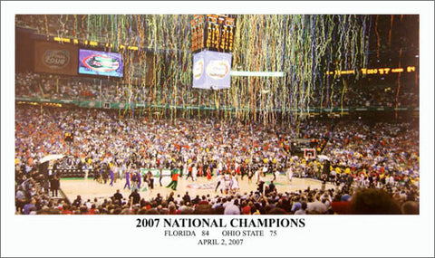 Florida Gators Basketball 2007 National Championship Game Night Panoramic Poster Print