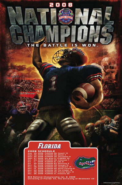"Florida Gators Football ""Battle Won"" (2008 National Champions) Commemorative Poster - Action Images"