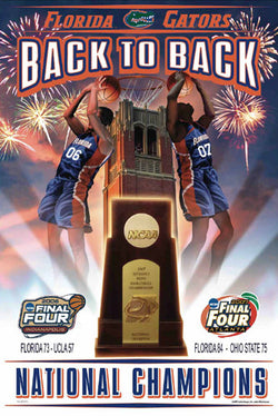 Florida Gators NCAA Men's Basketball Back to Back Champs (2006-2007) Commemorative Poster