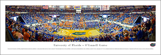 Florida Gators Basketball O'Connell Center Game Night Panoramic Poster Print - Blakeway