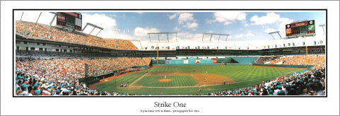 "Florida Marlins Baseball ""Strike One"" (1993) Joe Robbie Stadium Panoramic Poster Print - Everlasting Images"