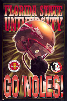 "Florida State Seminoles Football ""Go 'Noles"" Classic Theme Art Poster - Costacos 1996"