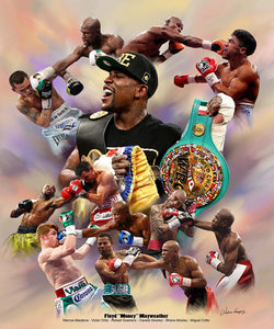 "Floyd ""Money"" Mayweather Boxing Career Collage Premium Poster Print - Wishum Gregory"