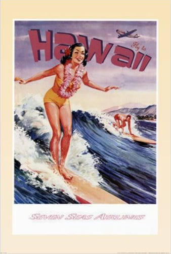 "Surfer Girl ""Fly to Hawaii"" 1950s-Style Vintage Poster Reprint - NYGS"
