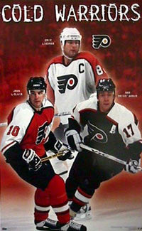 "Philadelphia Flyers ""Cold Warriors"" (Lindros, LeClair, Brind'Amour) Poster - Costacos 1998"