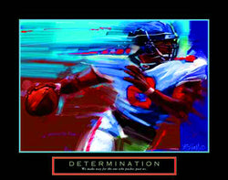 "Football ""Determination"" (Scrambling QB) Motivational Poster - Front Line"