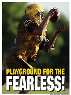"Youth Football ""Playground for the Fearless"" Motivational Poster - Fitnus Corp."