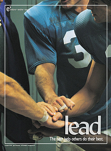 "Football Players in Locker Room ""Lead and Help Others"" Motivational Poster - Jaguar"