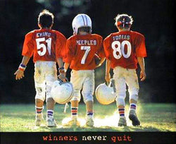 "Football Kids ""Winners Never Quit"" Motivational Poster - Front Line"