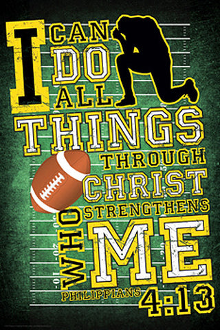 Football Prayer (Philippians 4:13) Christian Athlete Motivational Poster - Slingshot