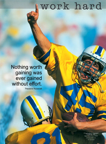 "Football ""Work Hard"" Character Series Motivational Inspirational Poster - Jaguar Inc."
