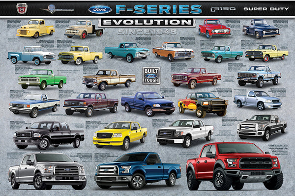 Ford F-Series Pickup Truck Evolution (26 Models Since 1948) Autophile Poster - Eurographics
