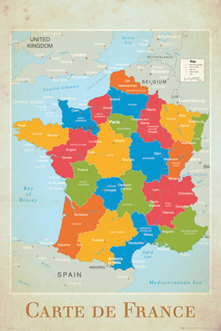 Map of France Wall Chart Poster (Regions, Capitals, Cities, Rivers, etc.) - GB Eye