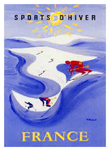 "Downhill Skiing ""Winding Trail"" (c.1954) by Bernard Villemot Poster Reprint - Editions Clouets"