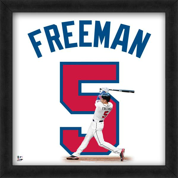 "Freddie Freeman ""Number 5"" Atlanta Braves MLB FRAMED 20x20 UNIFRAME PRINT - Photofile"