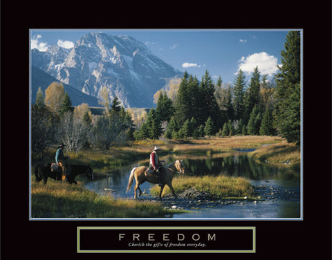 """Freedom"" Motivational Poster Print (Cowboys on Horseback)"