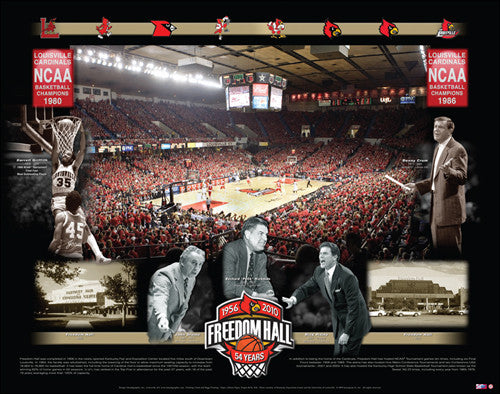 Louisville Basketball Freedom Hall Commemorative Poster Print - Smash Graphics 2010