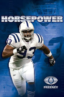 "Dwight Freeney ""Horsepower"" Indianapolis Colts NFL Action Poster - Costacos 2005"