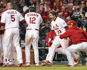 "David Freese ""Believe"" (Crossing the Plate, Game 6) St. Louis Cardinals Premium Poster - Photofile"