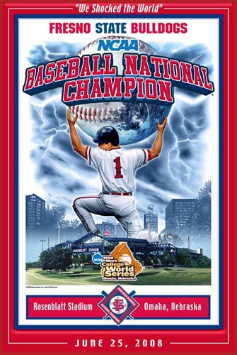 "Fresno State Bulldogs ""Shocked the World"" 2008 College World Series Championship Poster"