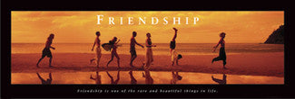 "Beach at Dusk ""Friendship"" Motivational Poster - Front Line 12x36"
