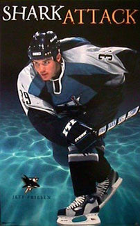 "Jeff Friesen ""Shark Attack"" San Jose Sharks NHL Action Poster - Costacos 1998"
