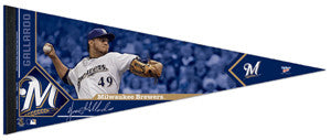 "Yovani Gallardo ""Signature"" Milwaukee Brewers Premium Felt Collector's Pennant (LE /2012)"