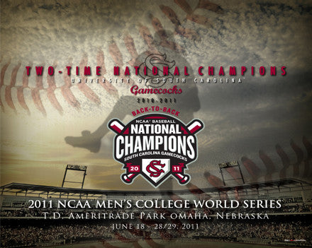 South Carolina Gamecocks Baseball 2010-2011 College World Series Champs Premium 16x20 Poster Print