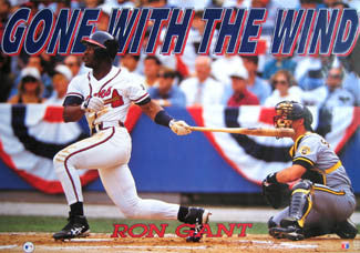 "Ron Gant ""Gone With the Wind"" Atlanta Braves MLB Action Poster - Costacos 1992"