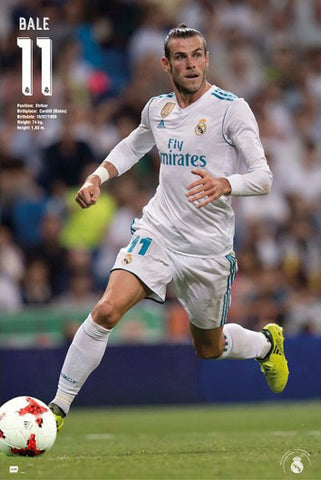 "Gareth Bale ""Accion"" Real Madrid CF Official La Liga Soccer Poster - G.E. (Spain) 2018"