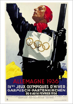 Garmisch-Partenkirchen Germany 1936 Winter Olympic Games Official Poster Reprint - Olympic Museum