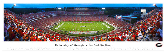 Georgia Bulldogs Football Sanford Stadium Game Night Panoramic Poster Print - Blakeway