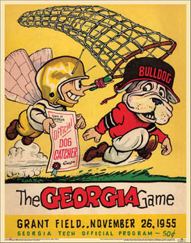 Georgia Tech Football vs Georgia Game 1955 Vintage Program Cover POSTER Print - Asgard Press