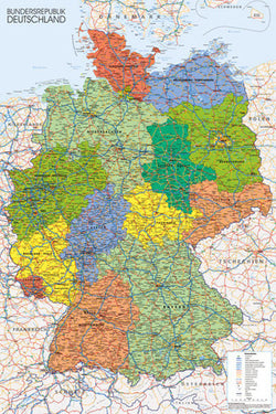 Map of Germany Wall Chart Poster - GB Eye