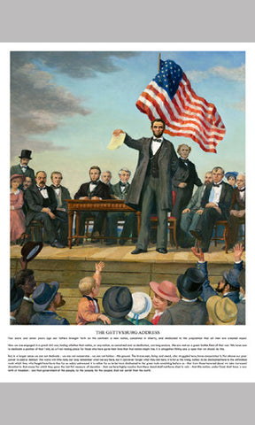 Abraham Lincoln The Gettysburg Address Historical Poster Print - Patriart USA Inc.