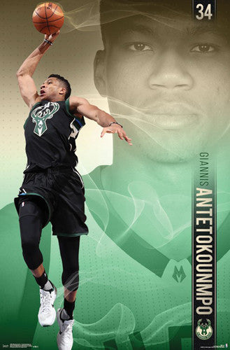 "Giannis Antetokounmpo ""Superstar"" Milwaukee Bucks Official NBA Basketball Action POSTER"