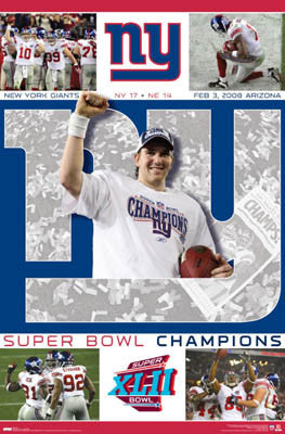"New York Giants Super Bowl XLII Championship ""CELEBRATION"" Poster - Costacos 2008"