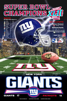 "New York Giants ""Super Season XLII"" Super Bowl Champs Poster - Action Images 2008"